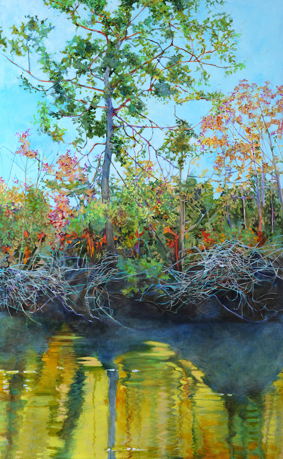 Elizabeth Bradford's Edisto River Bank, acrylic on canvas