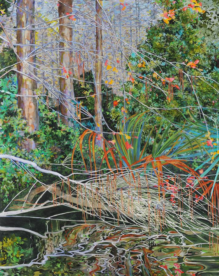 Elizabeth Bradford's Pine Needles, Reflections, acrylic on canvas