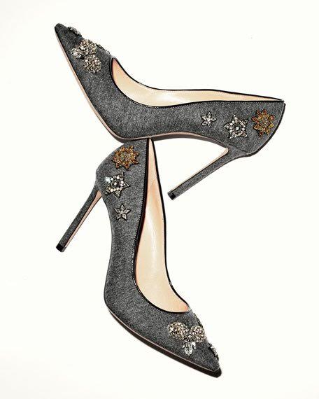 JIMMY CHOO - ROMY CRYSTAL FLANNEL PUMP