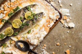Feast of the Seven Fishes - Salt-baked Branzino