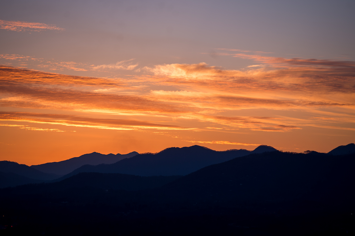 A winter sunset in Highlands, NC