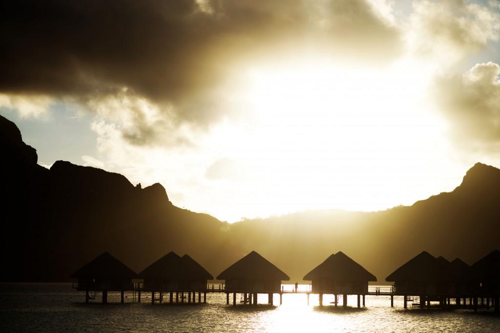 April 10-18, 2017, Bora Bora, French Polynesia: Overwater bungalows at sunset