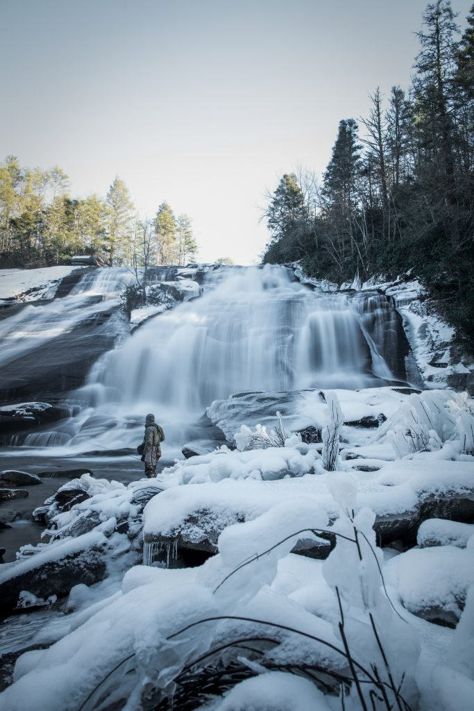 High Falls in Dupont State Forest in winter