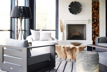 cozy den with fireplace
