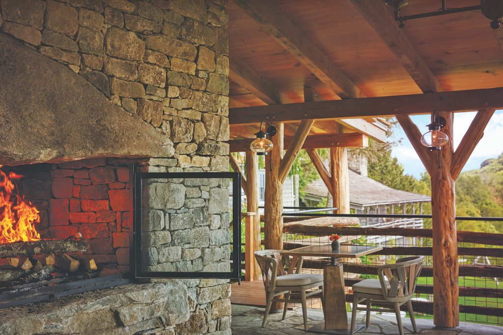 mountain resort outdoor fireplace